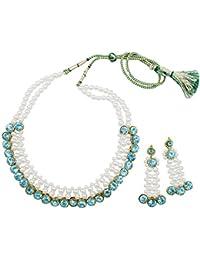 Fashionvalley White Pearls & Sky Blue Kundan Choker Necklace Set For Women & Girls