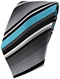 TigerTie Designer Krawatte in türkis silber grau weiss gestreift - Tie Binder