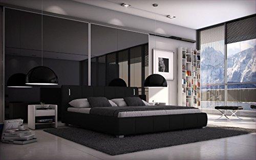 Sedex Bett Luna 180x200cm Doppelbett Polsterbett inkl. LED Kunstleder - schwarz