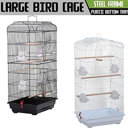 Popamazing Large Metal Bird Cage for Budgie, Cockatiel, Lovebirds etc. 46L x 36W x 92 cmH
