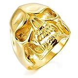 MunkiMix Acero Inoxidable Anillo Ring Oro Dorado Tono Cráneo Calavera Talla 20 Hombre