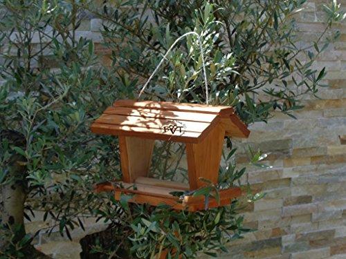 vogelhaus mit ständer BEL-X-VOFU2G-MS-dbraun002 Großes PREMIUM Vogelhaus mit ständer + 3D-Riesensilo / Futterschacht Futterautomat MASSIV + WETTERFEST, QUALITÄTS-SCHREINERARBEIT-aus 100% Vollholz, Holz Futterhaus für Vögel, MIT FUTTERSCHACHT Futtervorrat, Vogelfutter-Station Farbe braun dunkelbraun behandelt / lasiert schokobraun rustikal klassisch, Ausführung Naturholz, mit KLARSICHT-Scheibe zur Füllstandkontrolle - 4