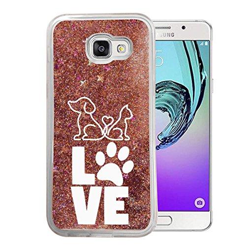 Finoo Samsung Galaxy A3 2017 Flüssige Liquid Rose Goldene Glitzer Bling Bling Handyhülle Motiv - Rundum Silikon Schutzhülle + Muster - Weicher TPU Bumper Case Cover - Love Pfote Weiss