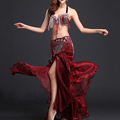 ormance Für Frauen Organza Indischer Tanz Kostüm Set Top Bra + Belt + Rock 3 Stück , glamour red , s (Machen Indische Kostüme)