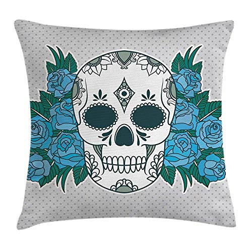Skull Throw Pillow Cushion Cover, Skeleton Head with Oriental Paisley Details Roses Leaves Ethnic Design, Decorative Square Accent Pillow Case, 18 X 18 Inches, Teal Fern Green and White Paisley-rosen