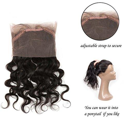 Chiusura con pizzo frontale a 360°, 100% veri capelli umani brasiliani, chiusura con pizzo, colore naturale, 25-55cm