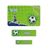 Striefchen® Fußballer Schuletiketten mit Namensaufdruck - 177 Stück perfekt für den Schulstart