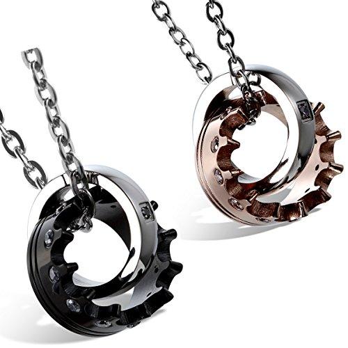 Flongo coppia collana amante regalo per donna uomo, anelli interblocco corona imperiale per lui & lei, acciaio inossidabile, buon natale san valentino regalo