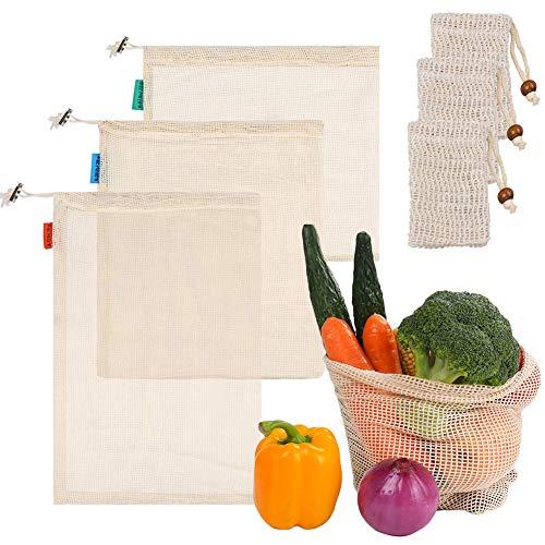 SwirlColor Obst Gemüsebeutel Taschen Mesh Kordelzug Wiederverwendbare Waschbare Gemüsetaschen Spielzeugbeutel für Lebensmitteleinkaufsspeicher 3Pcs-S M L, mit Sisal Seifensack