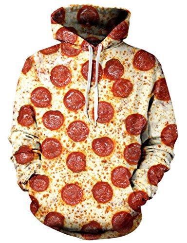 Loveternal Speck Pizza Hoodie 3D Druck Kapuzenpullover Langarm Sweatshirt für Frauen Männer mit Kordelzug S/M