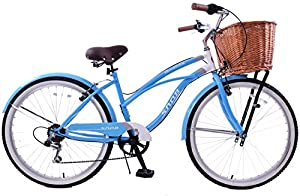 "New Snob Classic Ladies Lifestyle Comfort Beach Style Cruiser Wicker Basket 19"" Frame Blue"
