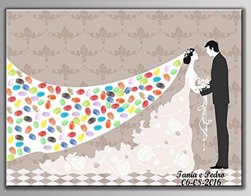 NOVAGO Kundengebundene Fingerabdruckmalerei für Hochzeit, Jahrestag, Geburtstag, Taufe, Kommunion (60 X 75, Brautkleider)