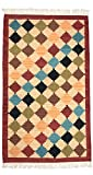 Exotic India Off-White Handloom Dhurrie from Sitapur with Woven Motifs in Multicolor Thread - Pure Wool