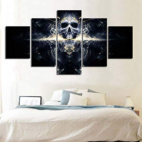 muro arte tela dipinto hd impronte cranio arredamento 5 pezzi al capezzale di sfondo immagini d'arte modulare poster