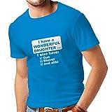 lepni.me Männer T-Shirt Ich habe eine Tochter - Vatertag, Weihnachten, Geburtstag, Jubiläumsgeschenk für Vater (Small Blau Weiß)