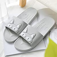fankou Slippers Women Indoor Summer Anti-Slip Home with Lovely Cartoon Couples Home Bath Bathroom Cool Slippers Male Summer,39-40, Gray White Cat