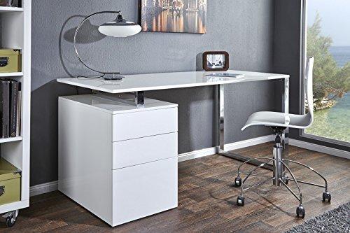 DuNord Design Schreibtisch Bürotisch Konsole Donna 160cm Hochglanz weiß Container Arbeitsplatz