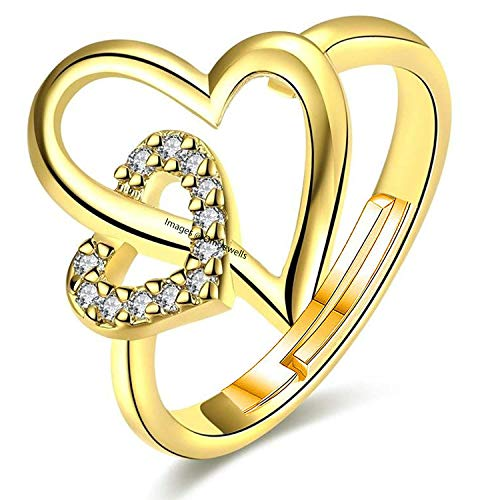 Om Jewells Gold Plated Valentine Special Heart in Heart Adjustable Finger Ring Studded with Cz Stones for Girls and Women FR000935