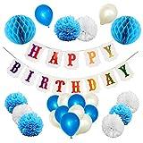Zaayuri Geburtstagsdeko für Jungen und Mädchen, Party Deko Set Blau-Weiß, Pink-Gold für Kindergeburtstag, Luftballon, Pom Pom, Happy Birthday Girlande für den Besonderen Tag im Jahr
