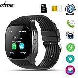 Smartwatch, TKSTAR Smartwatch Android Bluetooth Smart Watch Unterstützung SIM TF Karte Smart Uhr Telefonanrufe Antwortende & dial-up Smartwatch Telefon Remote Kamera Armbanduhr (Schwarz)