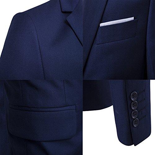 Sunshey Herren Anzug 3-Teilig Slim Fit Anzugsjacke Anzugsweste Anzugshose ein knopf Muster 9 Farben Hellgrau