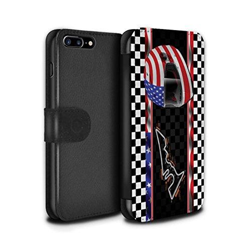 Stuff4 Coque/Etui/Housse Cuir PU Case/Cover pour Apple iPhone 8 Plus / USA/Austin Design / F1 Piste Drapeau Collection USA/Austin