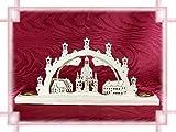 Schwibbogen Frauenkirche 2D für 2 Kerzen als Weihnachtsdekoration Original Erzgebirge aus eigener Herstellung