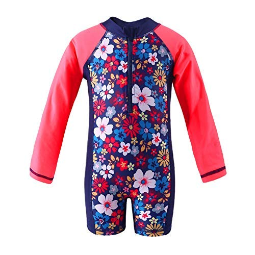 Attraco Baby Mädchen Jungen Rash Vest UV-Einteiler Rash Guard Bademode UPF 50+ Gr. 6-12 Monate, Floral Red