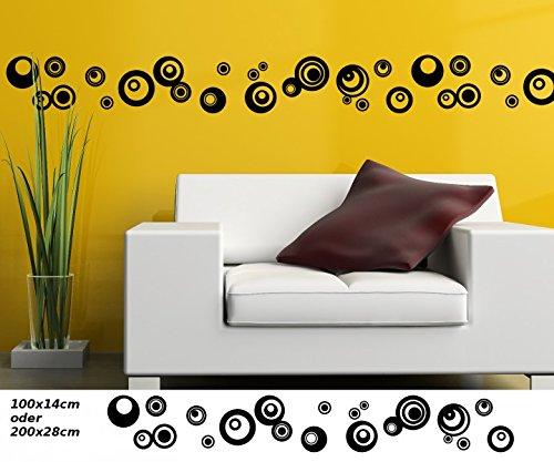 Wandtattoo Selbstklebend Bordüre Retro Style Kreis Ovale Punkte Streifen Set  Kreise Banner Aufkleber Wohnzimmer 1U144,