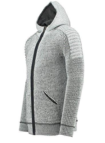 Herren Strickjacke - Grobstrick - Slim-Fit / Figurbetont - meliert - Moderner Zeitloser Warmer Strickpullover 72803 White-Anthracite