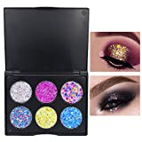 Yazidan 6 Farbe Glitter Lidschatten Diamant Regenbogen Make up Kosmetik Augenschatten Palette Schimmern Sie Glitter Lidschatten Pulver Palette Matte Lidschatten Kosmetik Make-up