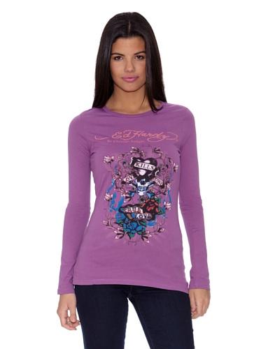 Ed Hardy Longsleeve Lks True Love Lavendel M - Hardy Ed T-shirt