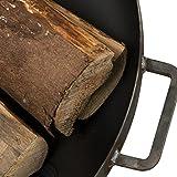 Feuerschale Daytona Stahl – Feuerstelle für Draußen: Terrasse Garten Balkon - Design-Schale mit Griffen Hochwertig rund mit 3 Füßen für gemütliche Feuer Test