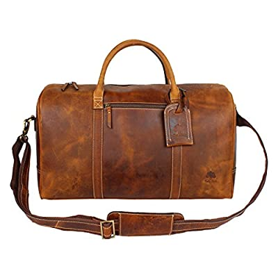 Genuine Vintage Leather Travel Duffle Bag Overnight Weekend Luggage Carry On Airplanes Underseat Gifts for Men Women by RUSTIC TOWN - low-cost UK light shop.