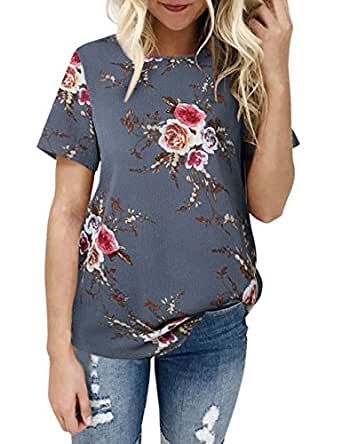 Weant Women Floral T-Shirt Sexy Short Sleeve Pullover Blouse Tops Jumper Womens Sale Clearance Teen Girl T-Shirt Blouse Plus Size (Gray, S)