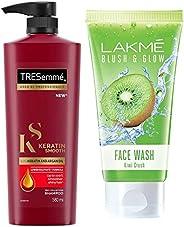 TRESemme Keratin Smooth Shampoo, 580ml & Lakme Blush and Glow Kiwi Freshness Gel Face Wash with Kiwi Extracts, 100 g