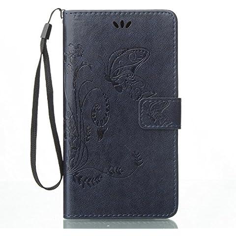 Cozy Hut Custodia portafoglio / wallet / libro in pelle per Asus Zenfone 3 ZE552KL 5.5 Custodia in Pelle Stampata Morbida PU Case Cover - Cover elegante e di alta qualità,Funzione di sostegno Stand,con la copertura del raccoglitore per la Carte - Progettazione fiore e la farfalla sollievo per Asus Zenfone 3 ZE552KL 5.5 - blu reale