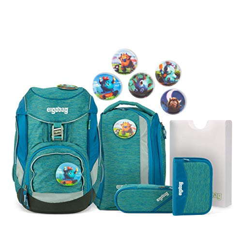 Ergobag Pack, MonstBärfreunde, ergonomischer Schulrucksack, Set 6-teilig, 20 Liter, 1.100 g, Melange Blue