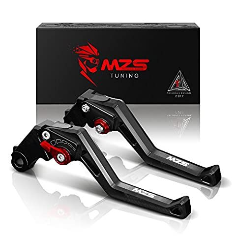 MZS Adjustment Brake Clutch Levers for Kawasaki Versys 1000 2012-2014,ZX6R/ZX636R/ZX6RR 2000-2004,ZX9R 2000-2003,ZX10R 2004-2005,ZX12R 2000-2005,ZZR600 2005-2009,Z1000 2003-2006-Black