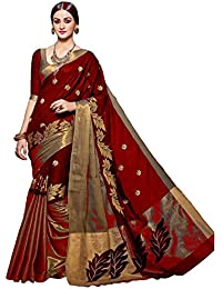 SaiCreation Woman Red Cotton Silk Workwear Saree Christmas Special Offer (saree Embroidery Work)