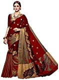 #5: Vatsla Women's Heavy Cotton Embroidered Saree With Blouse Piece (VMRNHNSCTN_Maroon_Golden)