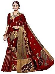 Vatsla Women's Heavy Cotton Embroidered Saree With Blouse Piece (VMRNHNSCTN_Maroon_Golden)