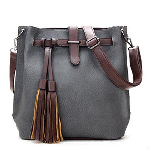 fanhappygo Fashion Retro Leder Damen elegant pu Quaste Eimer Handtaschen Umschlag Schulterbeutel Umhängetaschen grau