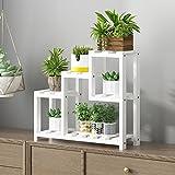 LIZIHUAYI Blumenständer Massivholz Erker Fensterbank Mini Schlafzimmer Tisch Desktop Regal Multilayer Korrosionsschutz (Farbe : Weiß)