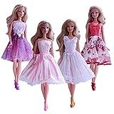 Schöne 4 Stück Mini Kleid Prinzessin Dress Clothes Zubehör Schuhe für Barbie Puppe (4 Stück Set)