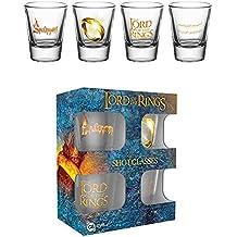 Lord of the Rings, el señor de los anillos (4unidades) de chupito Mini vasos por 2cl, altura 6cm 5Cm De Diámetro