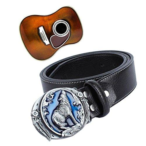 MagiDeal Vintage Western Cowboy Leder Gürtel mit Ersatz Gitarre Förmig Gürtelschnalle (Cowboy Leder Gürtel Für Männer)