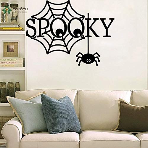 57x77cm Vinyl Wandtattoo Spooky Black Spider Webs Halloween Wohnzimmer Interior Home Decoration Aufkleber