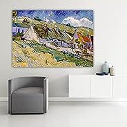 HODE79- Quadro Artistico su Tela- Alta Resa Cromatica- Van Gogh- Case e Cottage con il Tetto di Paglia (100_x_
