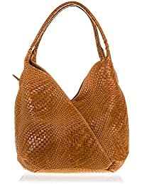 FIRENZE ARTEGIANI - Bolso de piel acabado Camoscio grabado con motivo trenzado geométrico y lacado. Mujer, BROWN, 33*18*33